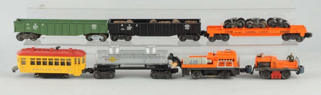 Lot Of 7: Lionel Gang Car and Rolling Stock.