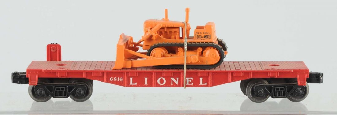 Lionel No. 6816 Flat Car With Bulldozer.