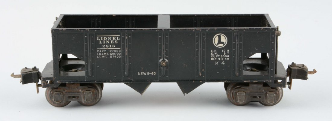 Rare Black No. 2816 Lionel Lions Hopper Car.