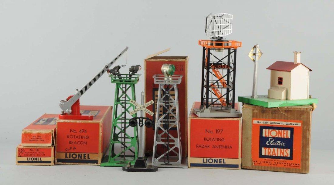 Lot Of 6: Lionel Towers, Gateman & Accessories.