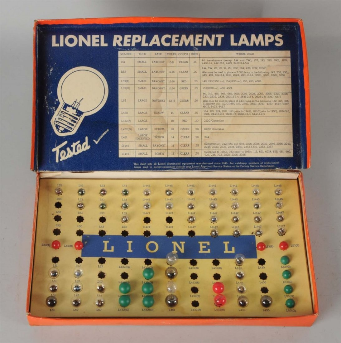 Lionel No. 123 Replacement Lamp Assortment.