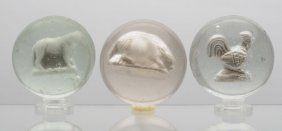 Lot Of 3: Sulphide Marbles.