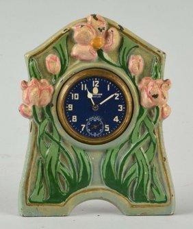 Cast Iron Boudoir Clock With Tulips.