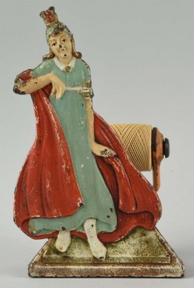 Cast Iron Victorian Lady String Holder.