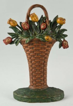 Cast Iron Tulip Basket Doorstop.