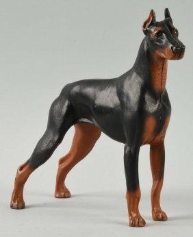 Cast Iron Doberman Pinscher Dog Doorstop.