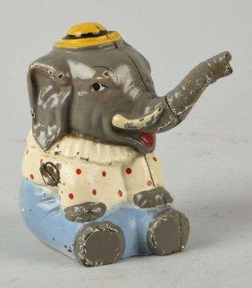 Cast Iron Hubley Seated Circus Elephant Still Bank