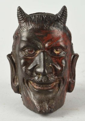 Cast Iron Two Faced Devil Still Bank.
