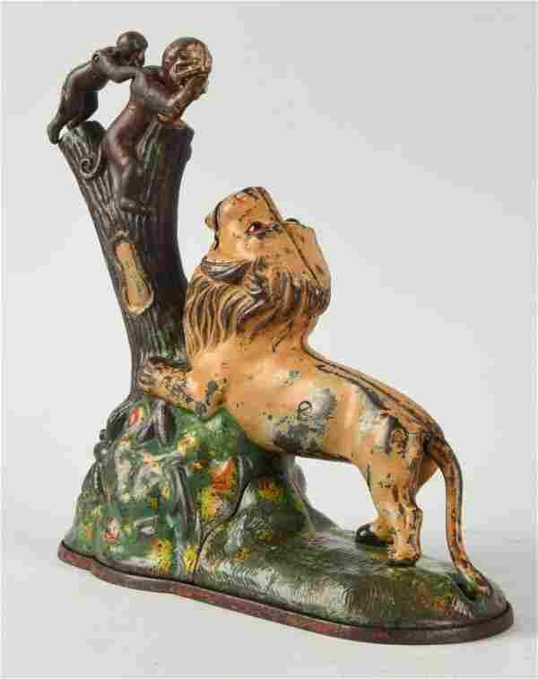 Kyser Rex Lion & Monkeys Mechanical Bank.