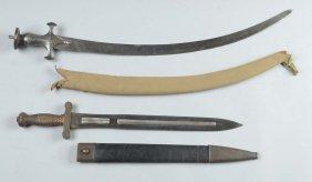 Lot Of: American Artillery Short Sword & Tulwar.