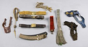 Lot Of 10: Military Belts, Sashes & Accessories.