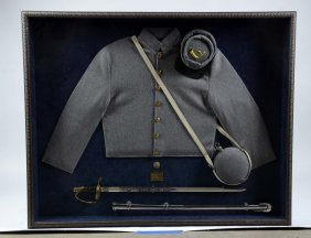 Framed Modern Civil War Confederate Uniform.
