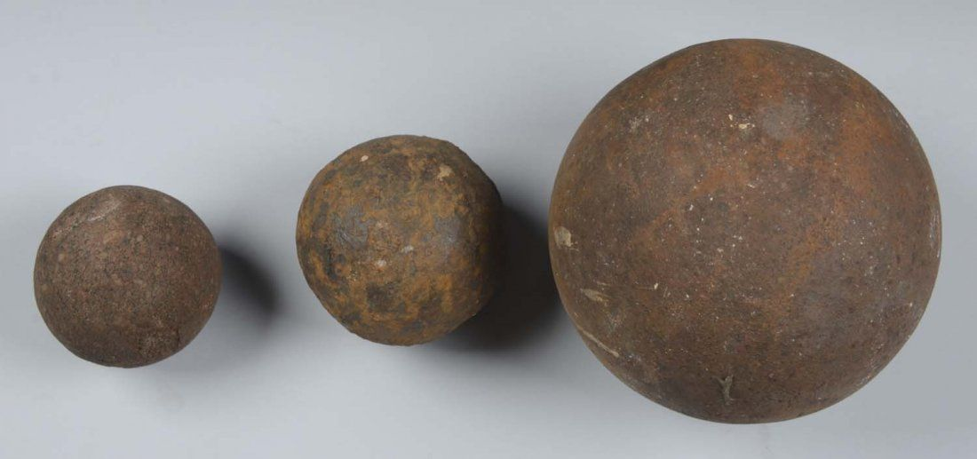 Lot of 3: Excavated Solid Shot Cannon Balls.