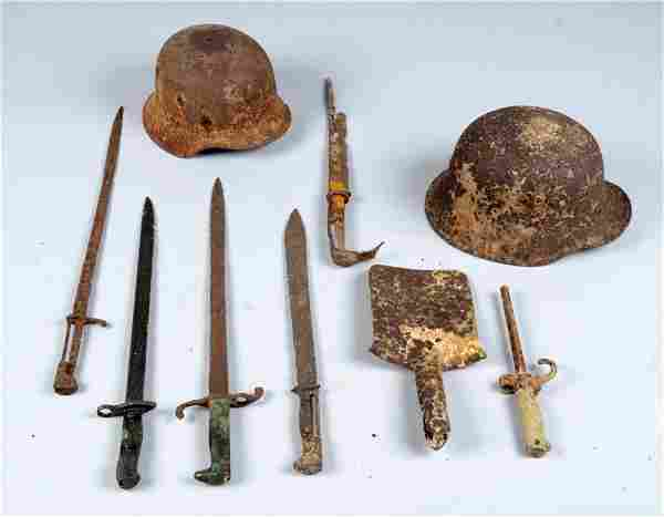 Lot of 9: Excavated World War II Items.