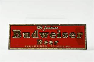 Vintage Budweiser Beer Reverse on Glass Sign.