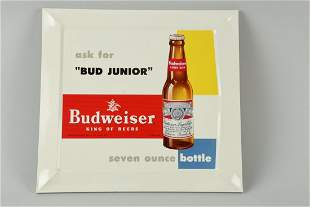 """Bud Jr"" Budweiser Tin over Cardboard Sign."