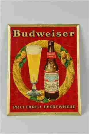 Budweiser Tin Over Cardboard Easel Back Sign.