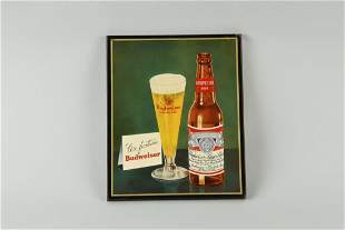 Budweiser Hy-Glo Plaque Advertising Sign.
