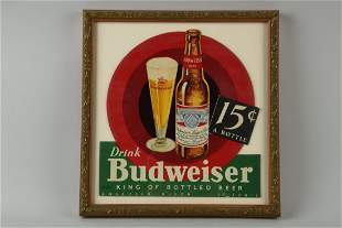 Diecut Budweiser 15c Advertising Sign.