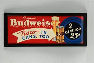 "Budweiser ""2 Cans for 25¢"" Advertising Poster."