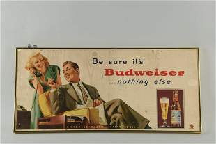 Budweiser Cardboard Advertising Sign.
