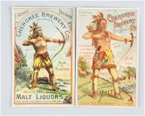 Lot of 2 Cherokee Brewery Adv Trade Cards