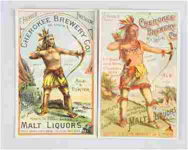 Lot of 2: Cherokee Brewery Adv. Trade Cards.