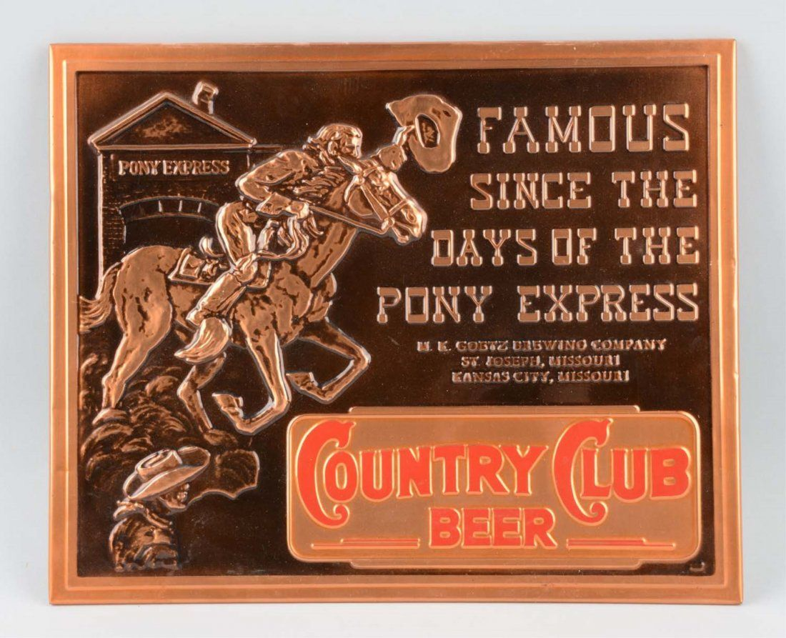 Embossed Country Club Beer Advertising Sign.