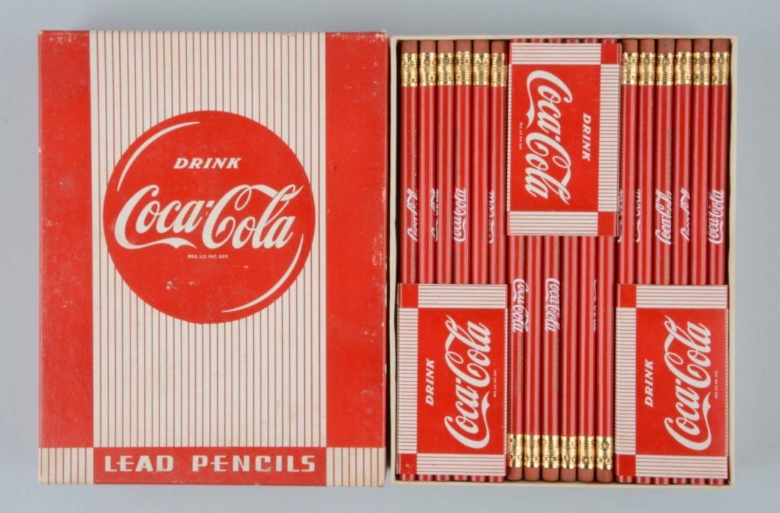 Box of Unused Coca-Cola Advertising Pencils.