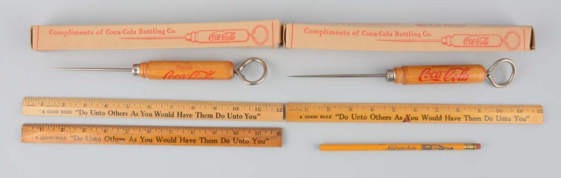 Lot of 6: Coca-Cola Rulers & Ice Picks.
