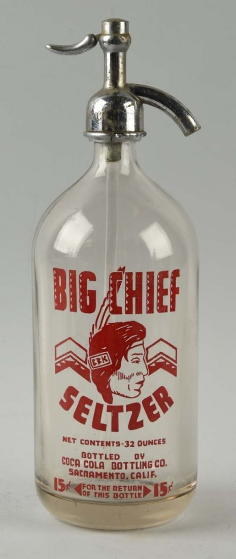"Coca-Cola ""Big Chief"" Seltzer Bottle."