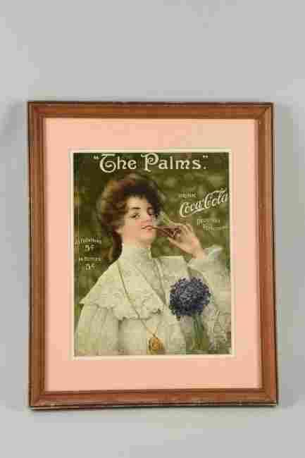 """""""The Palms"""" Coca -Cola Soda Fountain Paper Sign."""