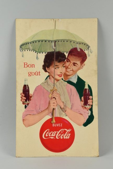 1950's French Coca - Cola Cardboard Sign.