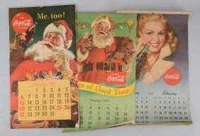 Lot Of 3: Coca-cola Advertising Calendars.
