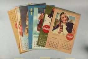 Lot Of 7: Coca-cola Advertising Calendars.
