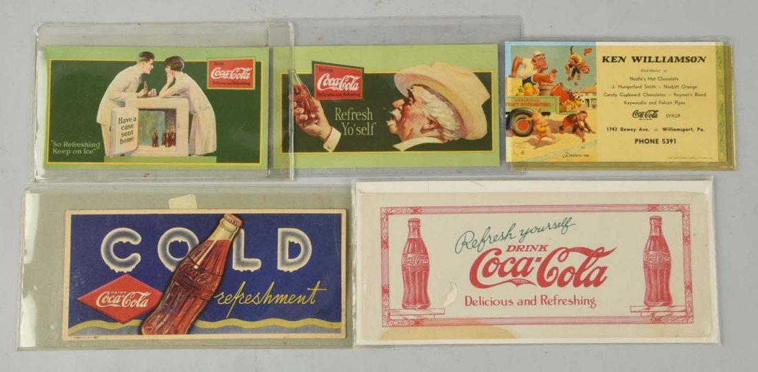 Lot Of 5: Early Coca-Cola Advertising Ink Blotters