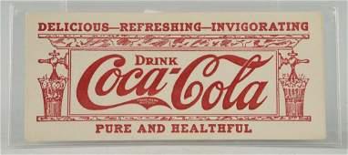 Early Coca-Cola Soda Fountain Ink Blotter.