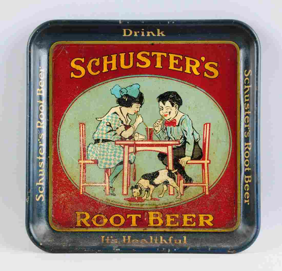 Schuster's Root Beer Advertising Tray.