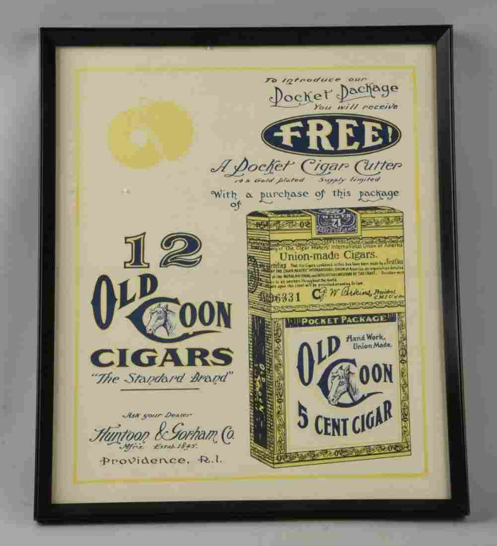 Old Coon Cigars Paper Advertising Poster.