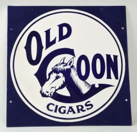 Old Coon Cigar Porcelain Advertising Sign.
