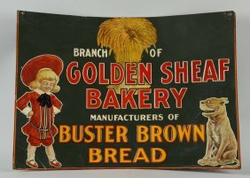 Buster Brown Bread Embossed Tin Advertising Sign.