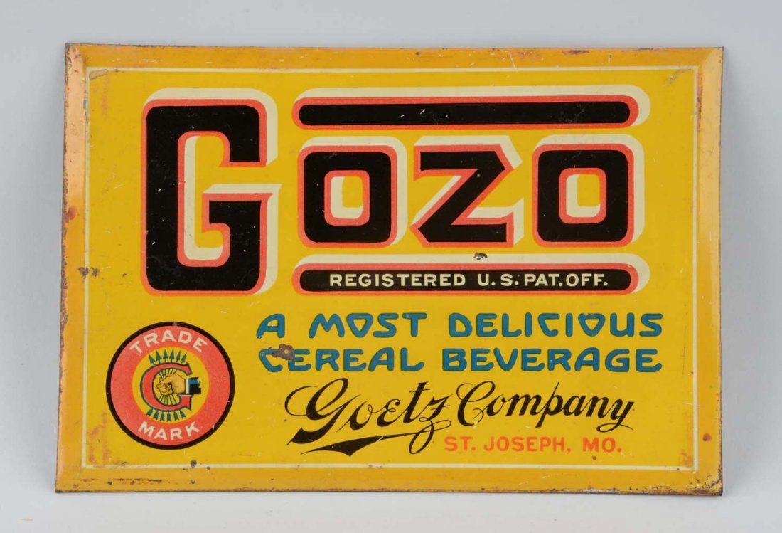 Gozo Cereal Beverage Advertising Sign.