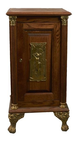 Wooden Slot Machine Stand With Brass Plaque.