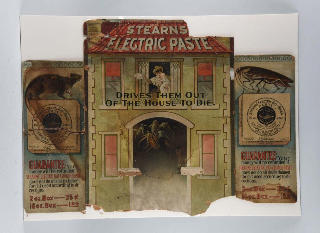 Stearn's Rat & Roach Electric Paste Tri-Fold Sign.