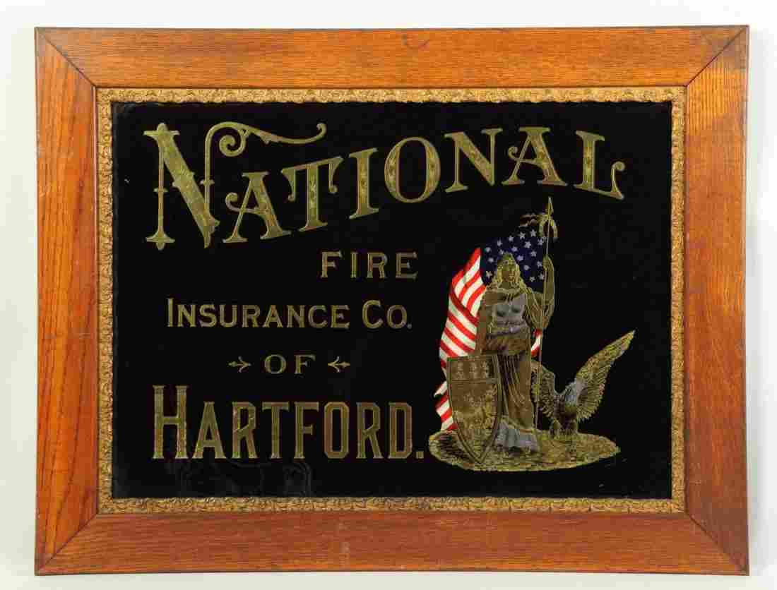National Fire Insurance Reverse On Glass Sign.