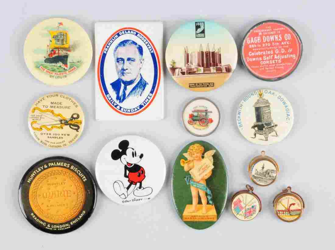Lot of 13: Assorted Celluloid Pocket Mirrors.