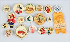 Large Lot of Firemen Related Celluloid Buttons