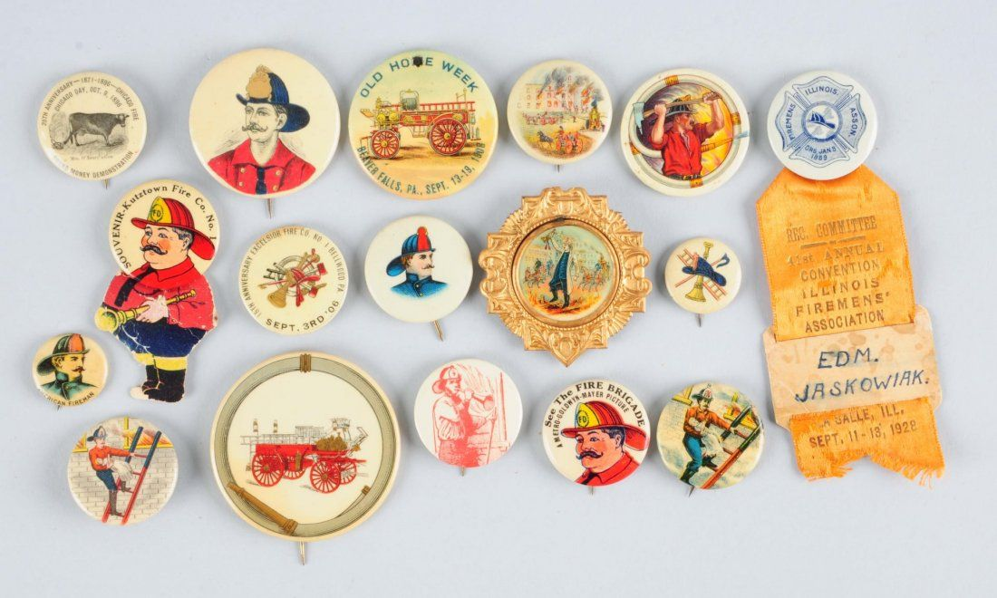 Large Lot of Firemen Related Celluloid Buttons.