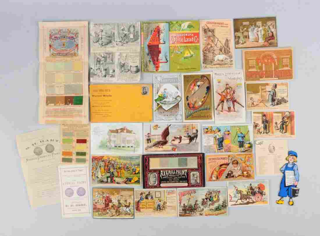 Lot of 20+: Paint Related Adv. Trade Cards.
