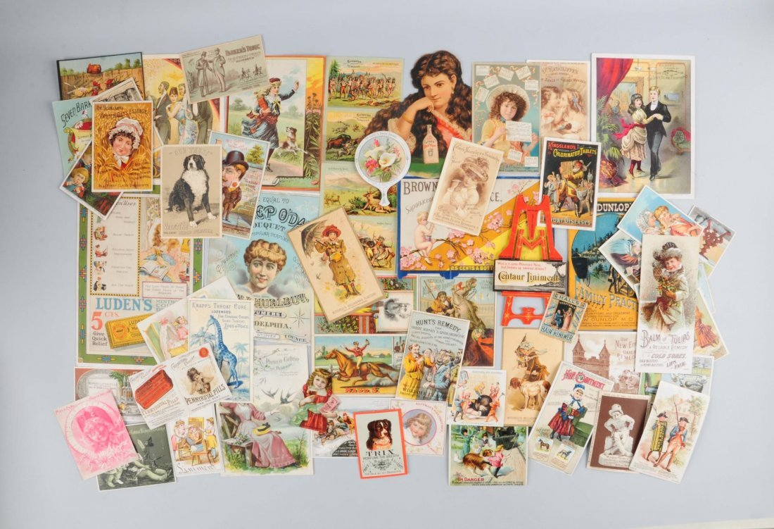 Lot of 20+: Medicinal Advertising Trade Cards.